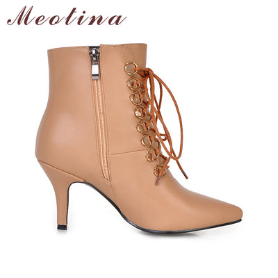 7cd6a75cdbe3 Meotina Ankle Boots Women High Heels Pointed Toe Boots Thin Heel Winter  Boots Zip Lace Up