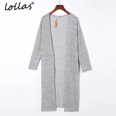 a3b6ff447d1 lollas New Casual Women Gray Black Crochet Knitted Cardigan Long-sleeve  Solid Color Sweater Cardigans