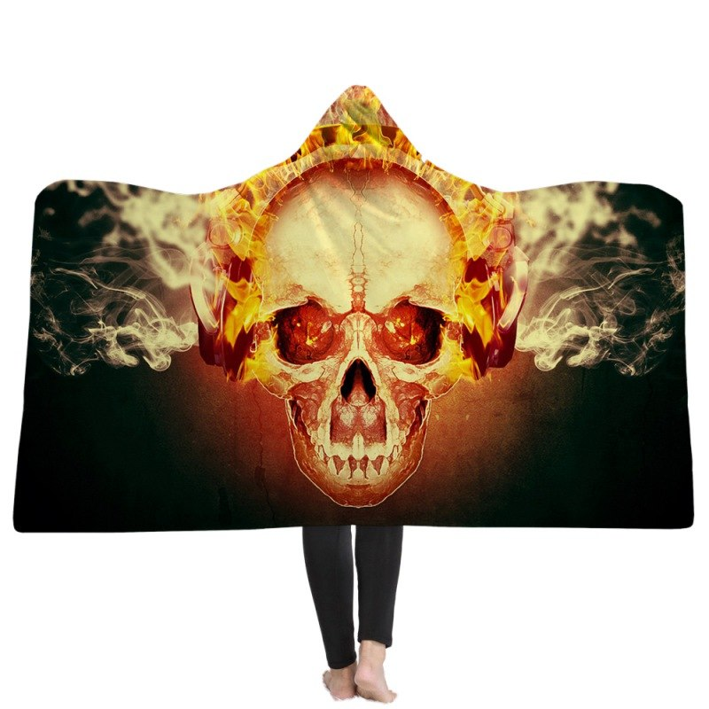 Outdoor camping candy velvet wearable hooded blanket skull flower watercolor wool blanket poppy rose sharba Camping Mat