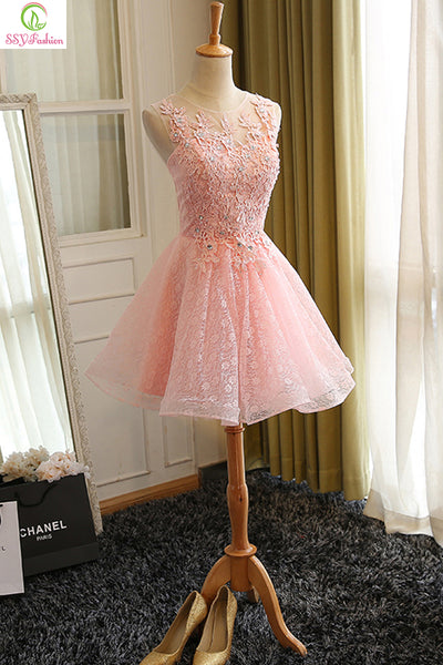 76ba77b62f69f Sweet Cocktail Dresses 2017 New SSYFashion Bride Married Banquet Pink Lace  Short Prom Dress Plus Size