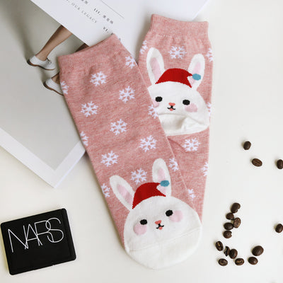 1Pair New Cute Women's Sock Happy Cartoon Animal Rabbit Socks Harajuku Design Cotton Socks Christmas Gift Cap Girl Socks  dailytechstudios- upcube