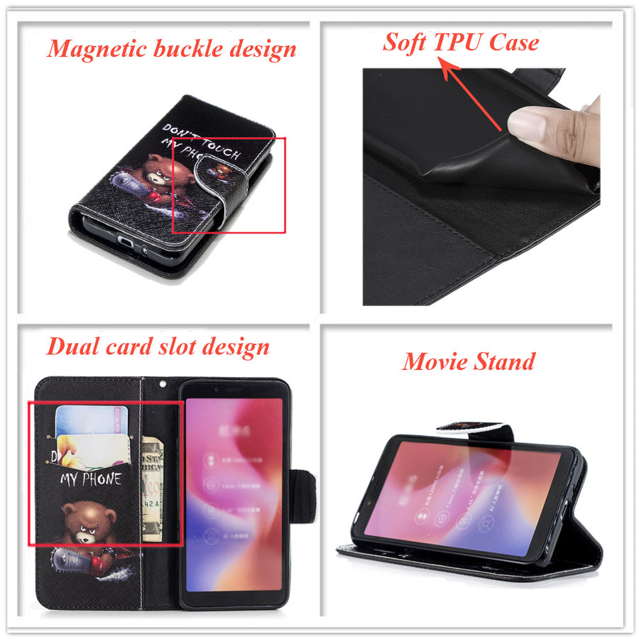 Book Flip PU Leather Cases For SAMSUNG Galaxy J6+ Plus 32GB 64GB Movie Stand Wallet Covers Cases J6 Plus (2018) TPU Full Housing