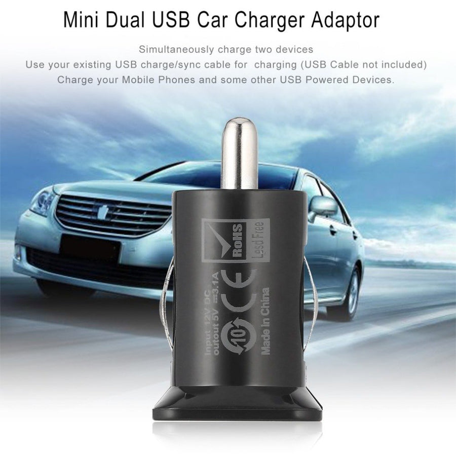 Mini USB Car Charger For Mobile Phone Tablet GPS 5V 3.1A Fast Charger Car-Charger Dual USB Car Phone Charger Adapter in Car
