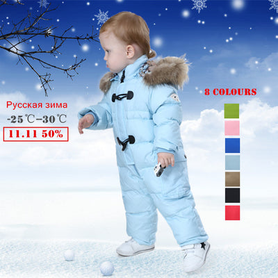2b833c70c 2018 NEW style Russian winter baby snowsuit 90% duck down jacket for g