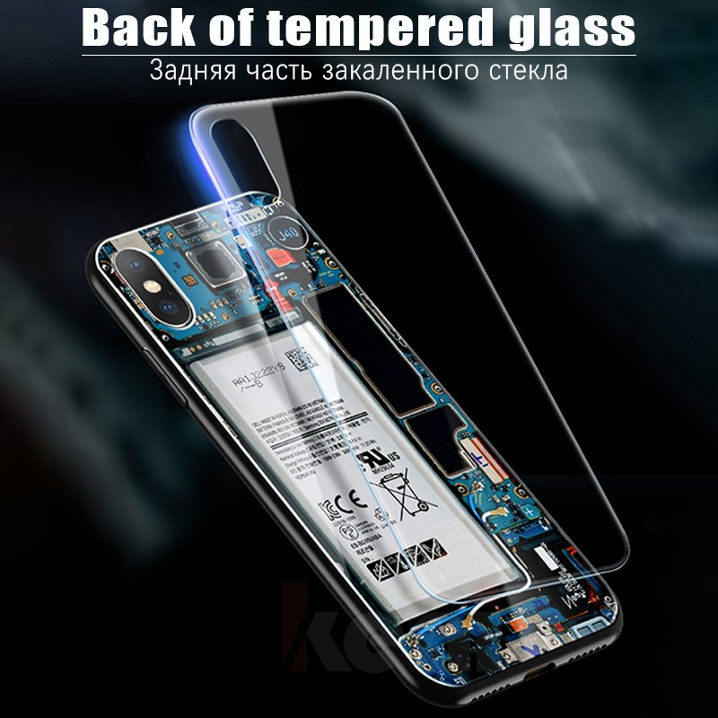 Circuit Board Tempered Glass Phone Case For iPhone XR X Xs Max Case Edge TPU Shockproof Full Cover For iPhone Xs Max Shell Coque