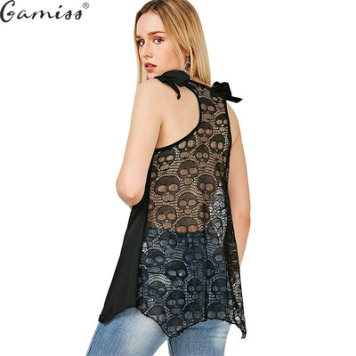 28d57eda05279 Gamiss Women Plus Size Tops 5XL Fashion 3D Skull Print Loose Lace Patchwork  Bandages Casual Sleeveless