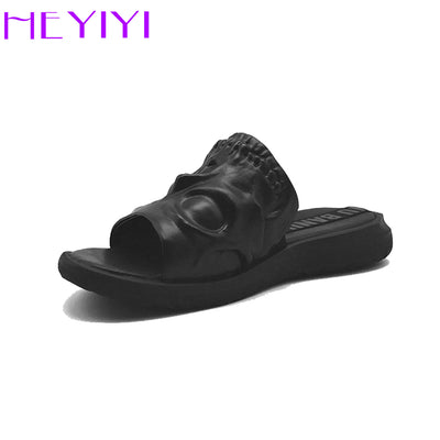 HEYIYI Brand Men Shoes 3D Print Genuine Leather Slipper Skull Element  Personalised Fashion Shoes Black wild single items