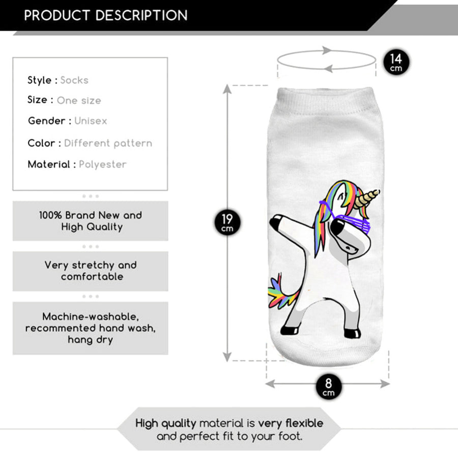 3D Lovely Dab dance glasses Unicorn socks 1pair New Unisex Cute Low Cut Ankle Cotton sock Casual Charactor Sock EUR 35~41