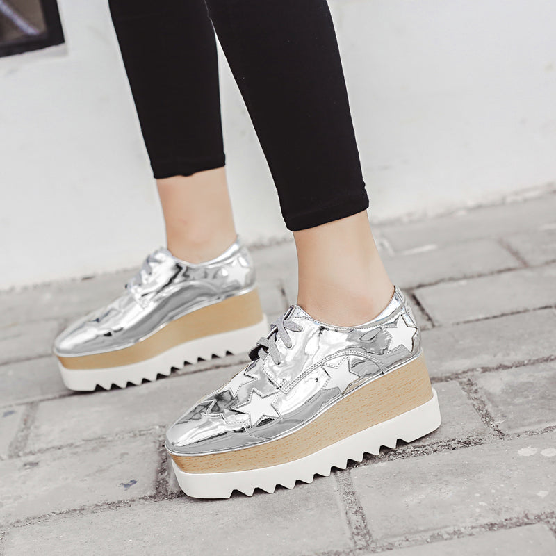 2017 European Gold/Silver Brogue Shoes Woman Brand Stars Bullock Shiny Leather Lady Derby Shoes Creepers Platform Shoes Brogues  dailytechstudios- upcube