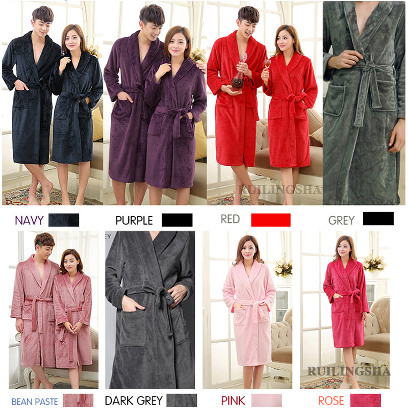 Hot Selling Lovers Soft as Silk Winter Warm Bathrobe Men Long Kimono ...
