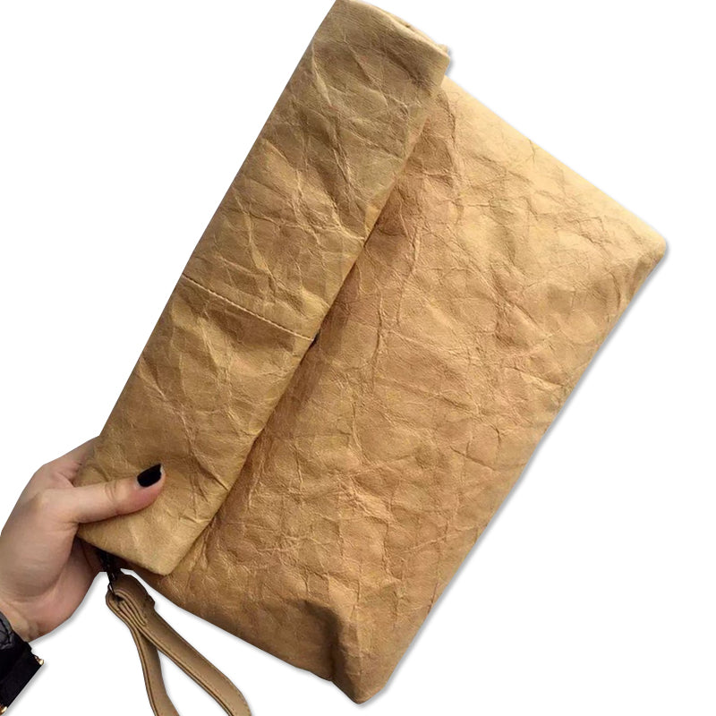 Vintage Kraft Paper Clutch Handbag Women's Pouch Messenger Bags Purse Folding Waterproof Ladies Handbags Clutch Shoulder BA070
