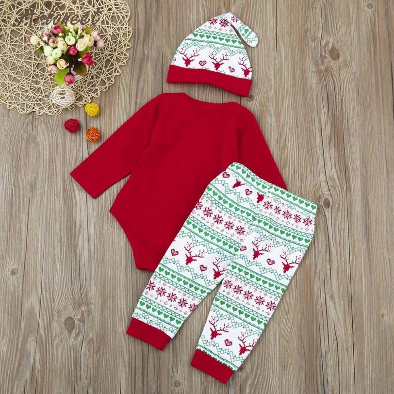 kids clothing set Baby Girl Clothes Christmas 3Pcs Infant Baby Boy Girl Romper+Pants+Hat Outfits P30 fashion children db21