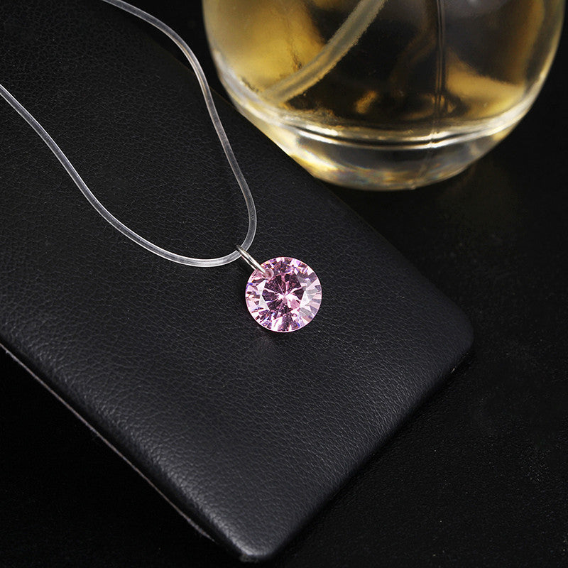8 colors Zircon Necklace And Invisible Transparent Fishing Line Simple Pendant Necklace Jewelry For Women party wedding gift