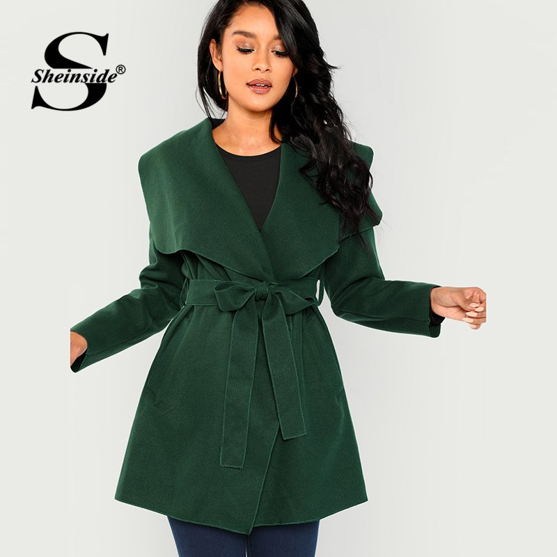 f894472508a Sheinside Green Waterfall Collar Self Belted Solid Coat Long Sleeve Elegant  Outer With Belt 2018 Autumn