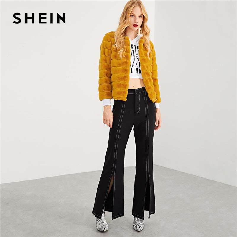 SHEIN Ginger Modern Lady Streetwear Weekend Casual Faux Fur Solid Coat 2018 Autumn Elegant Campus Women Coat Outerwear