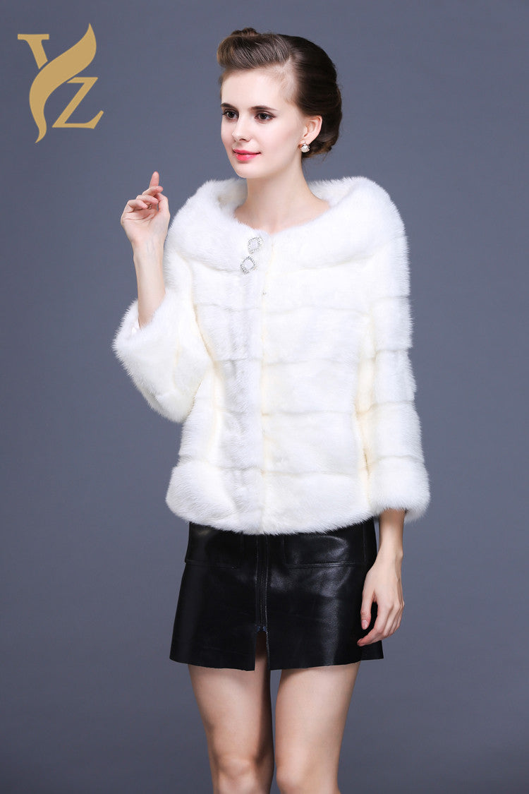 High Quality Mink Fur Jacket Real Natural Mink fur Coats Women Winter Mink Coat White Fur Genuine Furs Jackets Especially Women