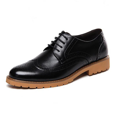 Men Shoes Brockden Leather Fashionable Pointed Toe Luxury Casual Shoes  Carved Men s Elevator Shoes Zapatos Hombre 1b04ebeb3ac8