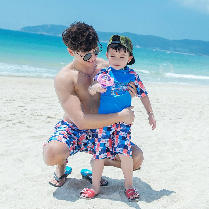 Children Cartoon Print Swimsuit Kids Swimwear Bottoms Boys TShirt+Swimming Trunks Shorts Family Mens Bathing Swim Wear Suit Sets