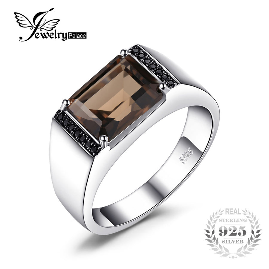 485c73c767400f Jewelrypalace Men's Emerald Cut 4ct Natural Smoky Quartz Black Spinel  Anniversary Wedding Ring 925 Sterling Silver