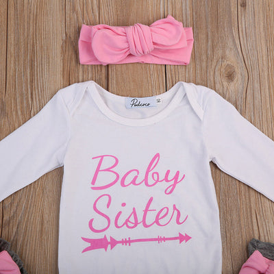 0-24M Baby Sister Newborn Clothes Long Sleeve Letter Print Cotton Romper Jumpsuit+Bow Legging Warmer Headband Outfits 3PCS Set - upcube