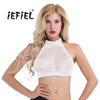 iEFiEL Brand New Women Sleeveless and Backless Sheer Mesh Halter Neck Cami Bra Slim Fit Wetlook See-through Vest Tank Crop Tops