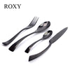 4Pcs/Set Black Cutlery Set Stainless Steel Western Food Tableware Sets Fork Steak Knife Dinnerware Set Drop Shipping  dailytechstudios- upcube