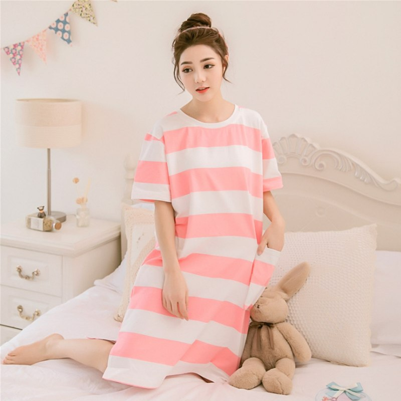 Women cotton Nightdress striped sleepshirts half sleeve sleepwear stripes nightgowns casual home clothing knee dress plus size