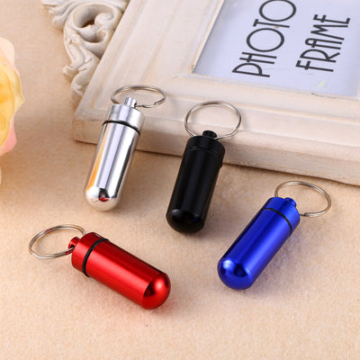 1PCS Small Metal Container Aluminum Pill Storage Box Bottle Case Holder Keychain Medicine Packing Bottle  UpCube- upcube