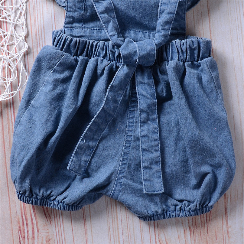 Newborn Infant Baby Girl Denim Ruffles Romper Jumpsuit Sunsuit Outfits Clothes Autumn Winter Warm Bebes Rompers high quality MM5
