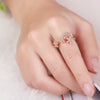 0.29ct SI/H Natural Diamonds Flower Women Engagement Wedding Ring Solid 18k Rose Gold Elegant - upcube