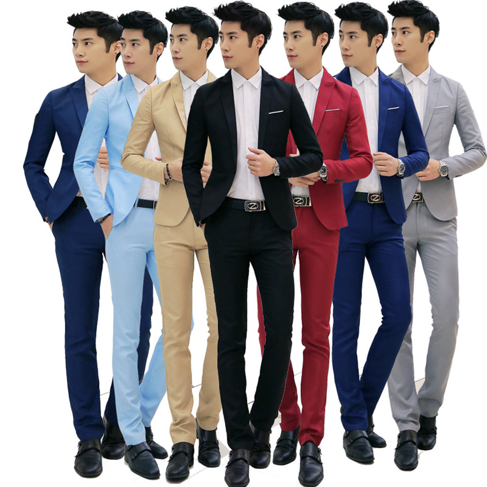 d2cdc9c33fd Helisopus Men Formal Wedding Bridegroom Suits Slim Fit One Button Decor  party dress Fashion Smart Casual