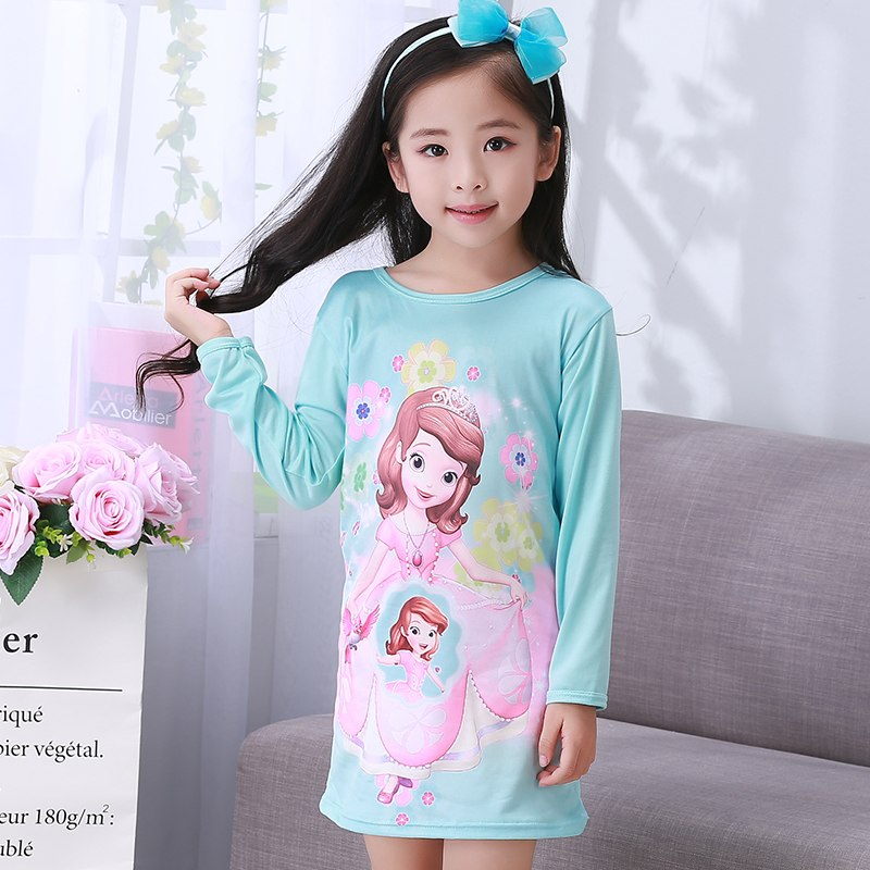 Wholesale Kids SleepDress Princess Nightgown for Kids Print Long Sleeve Girl Nightgown Girls Nightwear Cute Home Sleepwear