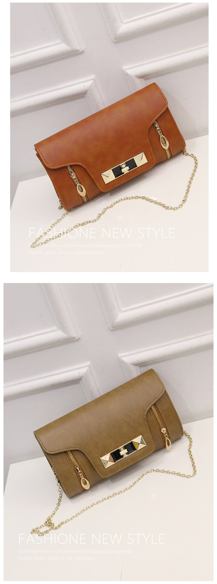 Double zipper chain handbag Casual Clutch turn lock to finalize the design party a undertakes to single shoulder women bag-50