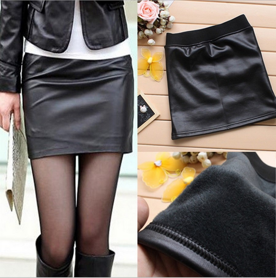 2018 Women Imitation Pu Leather Skirts Ladies Fashion Leather Above Knee Skirt Solid Black Imitation Leather Bag Hip skirts