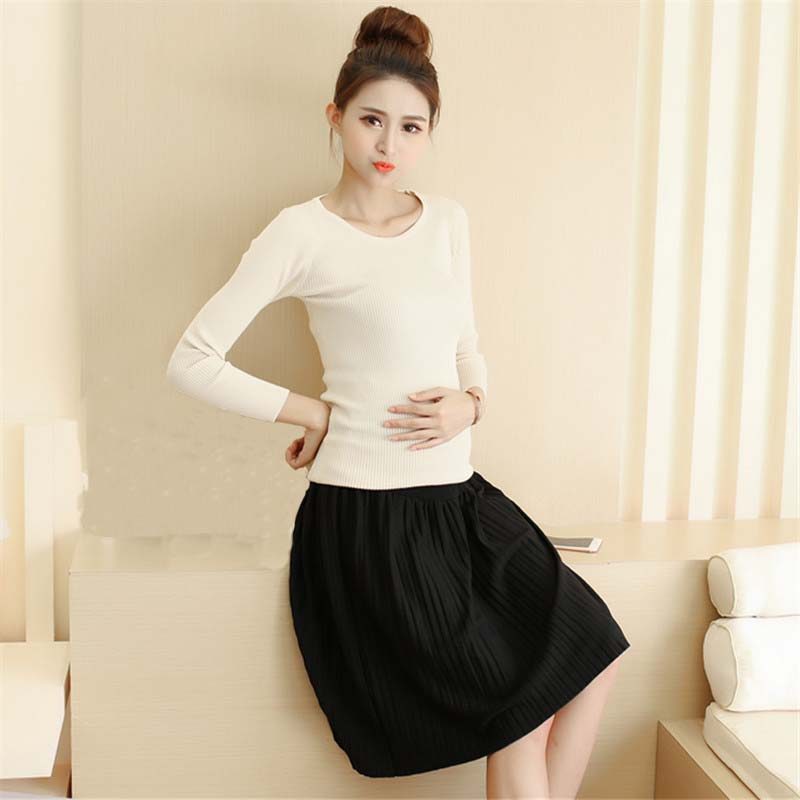HziriP New 2017 Fashion Maternity Pleated Skirt Cashmere Knitted A-Line Skirts For Pregnant Women Care Belly Maternity Clothes
