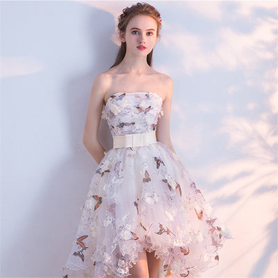 53e97f4e04f77 It's YiiYa Strapless Pleat Lace Up High-low Asymmetry Vintage Elegant  Flowers Taffeta Prom Gown Dancing Party Prom Dresses LX018