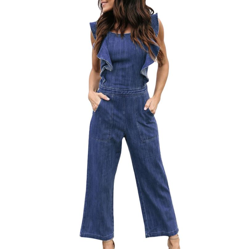 13c36af6cb05 Feitong Womens Denim Jumpsuits Sexy Backless Bandage Ruffles Sleeveless Rompers  Long Pants Overall Jumpsuits combinaison femme