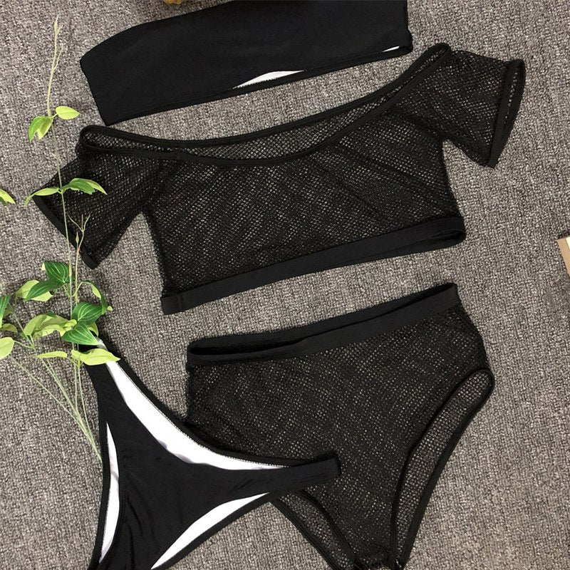 low waisted black sexy bikinis swimwear women 2019 sexi swimsuits with shorts mesh swimwear beach wear retro padded tankini set