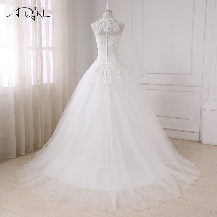 ADLN New Arrival Wedding Dresses Sexy Cap Sleeve Lace Applique Tulle Vestido De Noiva Wedding Gowns