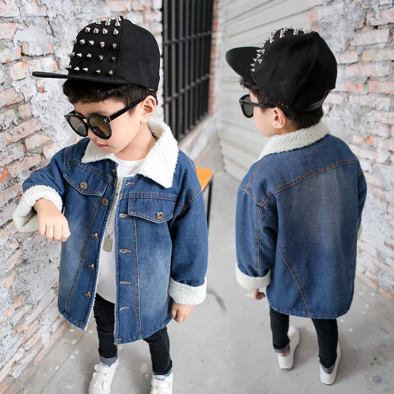 CROAL CHERIE 80-130cm Velvet Denim Jacket For Kids Girls Long Style Winter Parkas Jeans Coat For Boys Children Baby Clothing