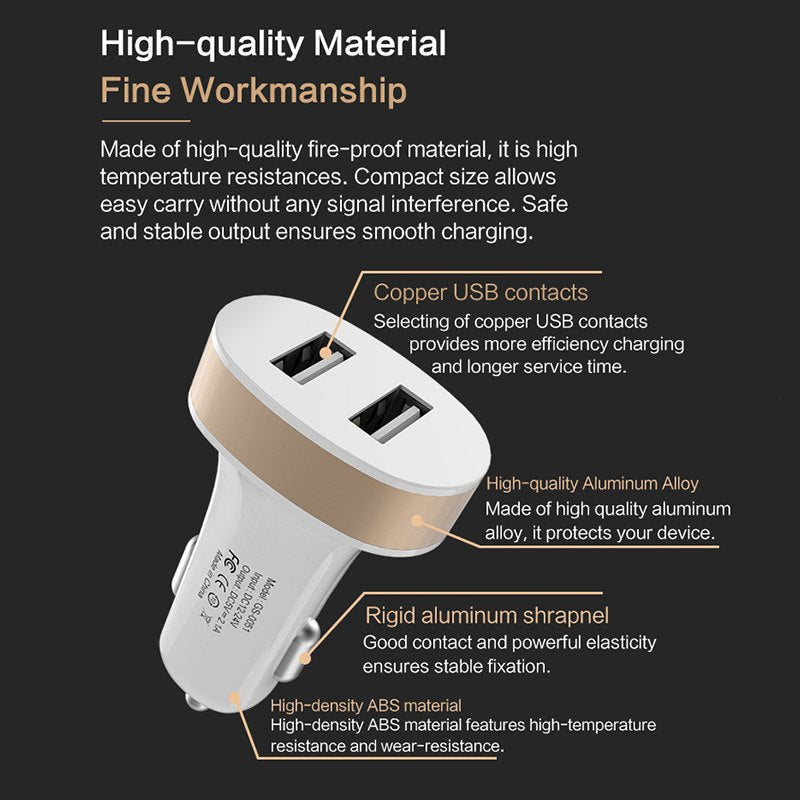 MOLIKE USB Car Charger Dual USB 2.1A Charging Mobile Phone Tablet GPS Universal Fast charging Car-Charger Adapter Accessories