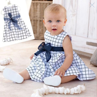 0-3Y Baby Toddler Top Cute Bow-knot Plaids Dress Kid Girl Cotton Outfit Clothes - upcube