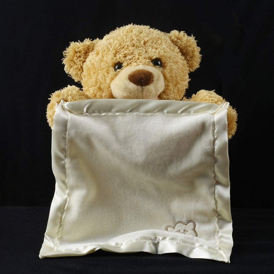 High quality 30cm Teddy Bear Hide and Seek Animated Stuffed Animal Talking Bear Toy Shy Bear New Year Birthday Gift for children
