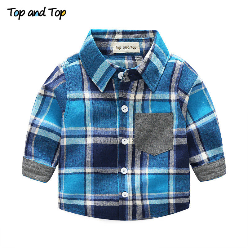 Top and Top Fashion Kids Clothes Casual Boy Clothes Autumn Boys Clothing Set Gentleman Suit Plaid Long Sleeve Children Clothing