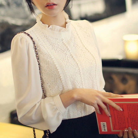 60f324086ddb13 2015 Women Crochet Blouse Lace Chiffon Shirt White Black Basic Shirt Ladies  Stand Collar Ruffles