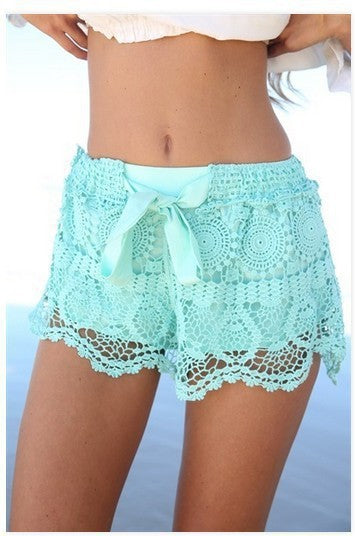 Summer woman short pants Sweet Style Blue White Lace shorts with bow Crochet Slim Beach Hot Shorts Wholesale