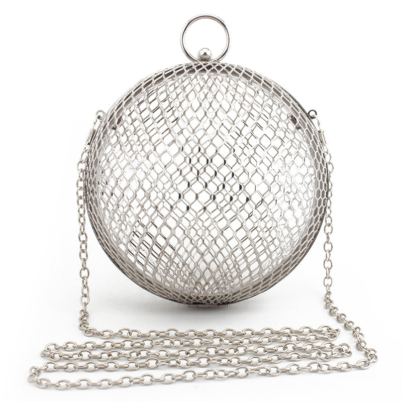 Vintage Women's Evening Bag Metal Chain Hollow Out Mini Bag Banquet Party Shoulder & Crossbody Bags Clutch Circular Cage Handbag