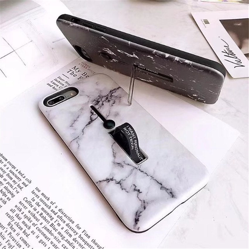 Fashion Marble Case Solid Color Hide Stand Holder Silicone Phone Case Cover For Samsung Galaxy S7 Edge S8 S8Plus S9 S9Plus Note8