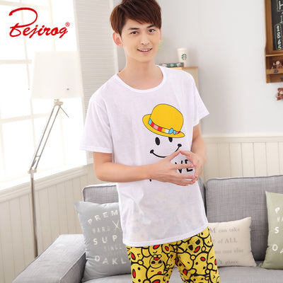 Bejirog short sleeved pajamas set for men sleepwear cartoon print pyjamas  in summer piyama cotton nightwear b20e2902f