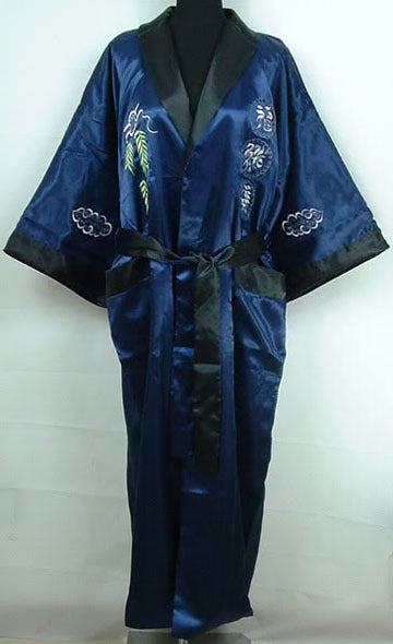52ec1e04fc Navy Blue Black Men s Satin Reversible Bathrobe Two-Face Embroidered Sleepwear  Novelty Yukata Gown Free